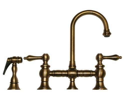 Gooseneck Spout Bridge Faucet (Whitehaus WHKBLV3-9106-ABRAS Vintage Iii 5 1/4-Inch Bar Bridge Faucet with Short Gooseneck Swivel Spout, Lever Handles and Solid Brass Side Spray, Antique Brass)