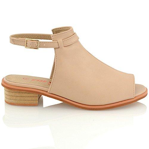 ESSEX GLAM Damen niedrigen absatz stiefeletten peep toe sandalen Hautfarbe Kunstleder
