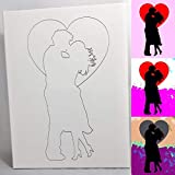 Couple Kissing DIY Coloring Canvas - Paint and Sip