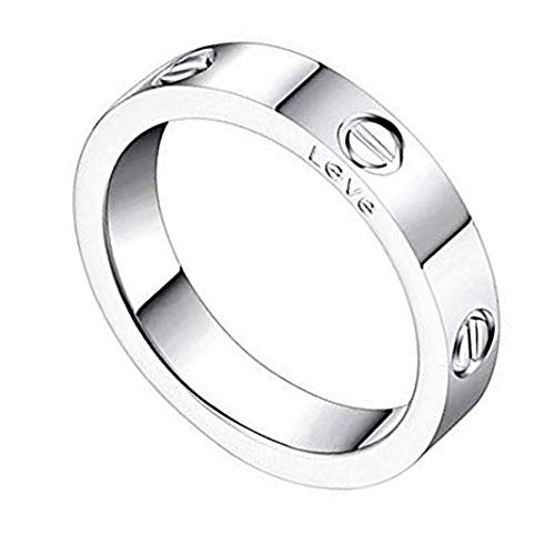 Price comparison product image Qindishijia 4mm Silver Love Ring-Lifetime Just Love You with (Silver,  7)