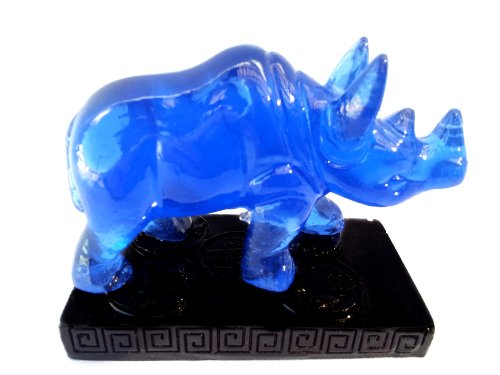 Betterdecor Feng Shui Blue Double Horns Rhinocero Statue Figurine- Anti Burglary (with a Gift Bag)