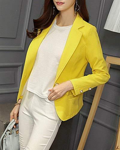 Giacca Coat Coreana Business Manica Monocromo Da Gelb Donna Moda Offlce Autunno Ovest Modern Tailleur Lunga Stile Outwear Button Collo CO8qtT