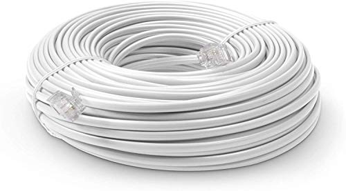 THE CIMPLE CO - Phone Line Cord 100 Feet - Modular Telephone Extension Cord 100 Feet - 2 Conductor (2 pin, 1 line) cable - Works great with FAX, AIO, and other machines - White