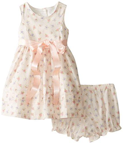 Laura Ashley London Baby Girls' Peach Ribbon Floral Dress, Multi, 24 Months