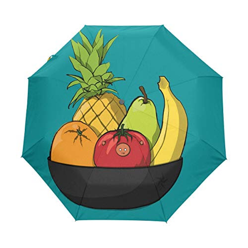 OuLian Umbrella Cartoon Bowl of Fruit Golf Travel Sun Rain Windproof Auto Umbrellas with UV Protection for Girls Boys ()