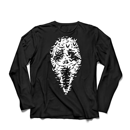 lepni.me Men's T-Shirt Ghost Scary Face Bats, Halloween Party Costume (X-Large Black Multi Color) ()