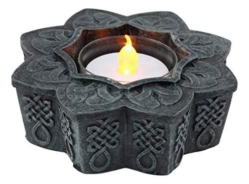 - Ebros Beautiful Celtic Flower Floral Knotwork Symbol Tea Light Candle Holder Figurine Votive Burner Decor Sculpture