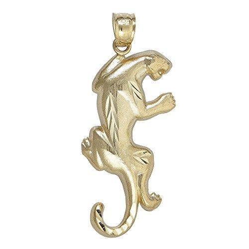 14K Yellow Gold Climbing Panther Dangling Pendant (Gold Panther Pendant)