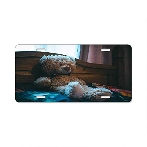 YEX Abstract Brown Bear Leaning On Bed Headboard License Plate Frame Car Licence Plate Covers Auto Tag Holder 6