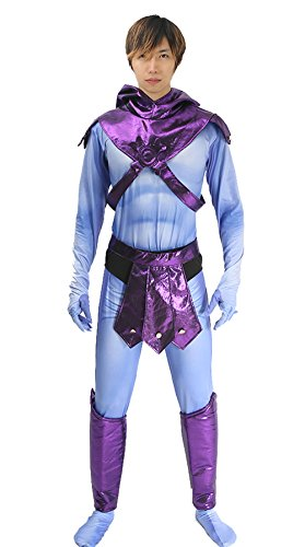 Skeletor Costume Deluxe Polyester He-man Jumpsuit Adult Cosplay Halloween Prop (Skeletor Mask)