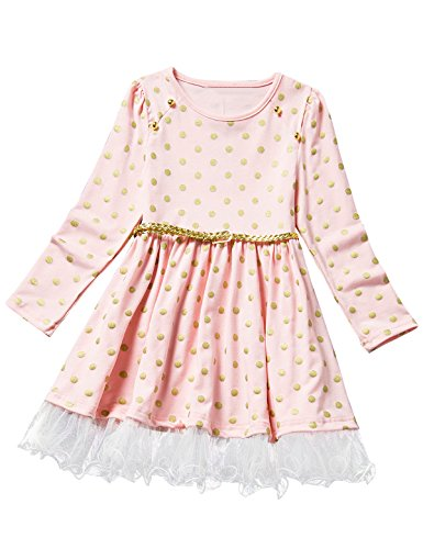 NNJXD Polka Dotted Gold Belt Lace Pleated Formal Casual Dress Size 4-5 Years Pink (Dress Dotted Pink)