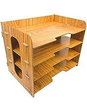 Briefablage Holz, BelleJoomu Document Organizer Dokumentenablage mit 4 Einlegeböden Papierablage für Briefe und Unterlagen 33x23x27cm