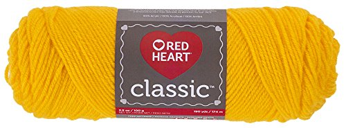 Red Heart Classic E267.1270 Yarn, Bright Yellow, - Heart Yarn Knitting Yellow