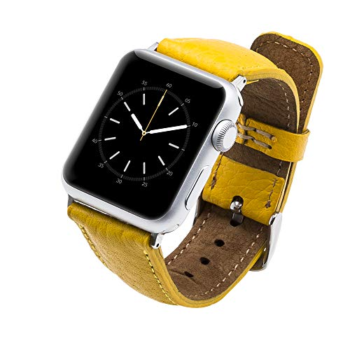 Tuscany Handmade Leather Watch Band Strap Compatible with Apple Watch 44/42/40/38 mm in All Series 1,2,3,4 with Stainless Steel Hardware (Yellow, 42-44mm with Silver Connector&Clasp)