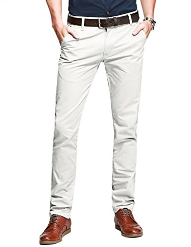 Match Mens Slim-Tapered Flat-Front Casual Pants(30W x 31L,Off white) - Men Formal Pants