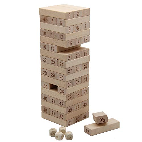 (MorTime 51Pcs Timber Tower Wood Block Stacking Game - Number Match Playset)
