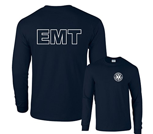 Emt Clothing (FAIR GAME EMT Badge White Logo F&B Long Sleeve T-Shirt-Navy-Medium)