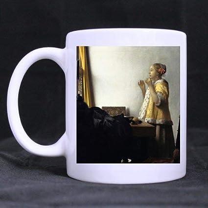 Birthday Gifts Presents Jan Vermeer – Mujer con un collar de perlas para té/café/copa de vino 100% cerámica taza blanca de 11 onzas