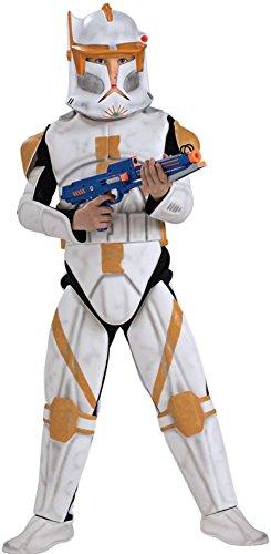 Clonetrooper Costumes (Star Wars Clone Wars Clone Trooper Child's Deluxe Commander Cody Costume, Medium)