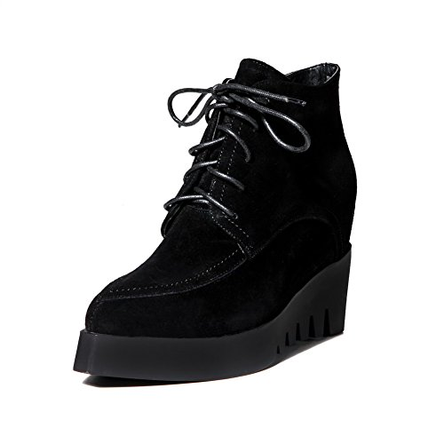 High with Toe Bandage Women's Pointed Boots Toe Sole Closed AmoonyFashion Black Heels and Slipping X68qxw64