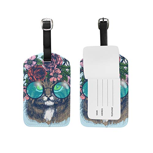 Tarity Cat With Floral Wreath Luggage Tags Set Of 2 Personalized PU Leather ID Travel Tag Label Baggage Bag Tags For Cruise Ships Suitcase Women Men