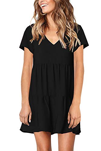 PinUp Angel Black Women's Short Sleeve Tunic Dress V Neck Loose Flowy Swing Shift Dresses