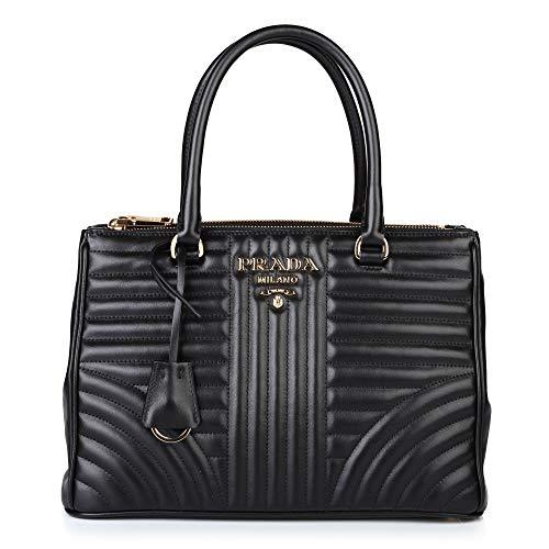 PRADA Bags Cross Body Shoulder Tote Handbags Black Leather 100% (Authentic Prada Leather Handbag)