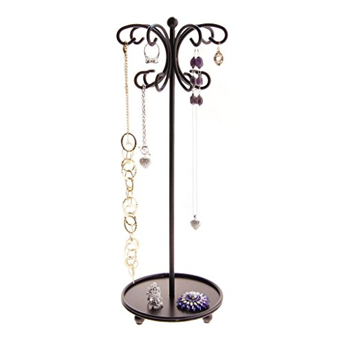 Angelynn's Necklace Holder Organizer Jewelry Tree Stand Storage Rack, Ava Rubbed Bronze