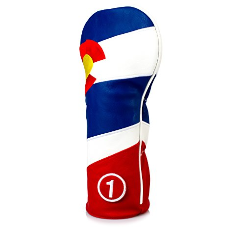 Pins & Aces Golf Co. Colorado Tribute Premium Driver Headcover - Quality Leather, Hand-Made 1 Wood Head Cover - Style and Customize Your Golf Bag - Tour Inspired, Colorado Flag Design ()
