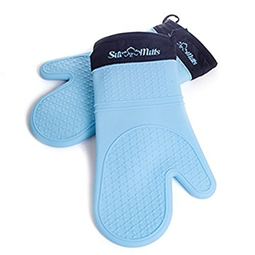 Blue Silicone Oven Mitts - 1 Pair of Extra Long Professional Heat Resistant Pot Holder & Baking Gloves - Food Safe, BPA Free FDA Approved With Soft Inner Lining, Set of 2 (Silicone Professional)