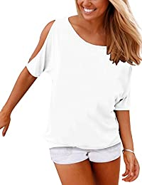 Women's Summer Casual T Shirts Cold Shoulder Short Sleeve Blouse Solid Cute Tops