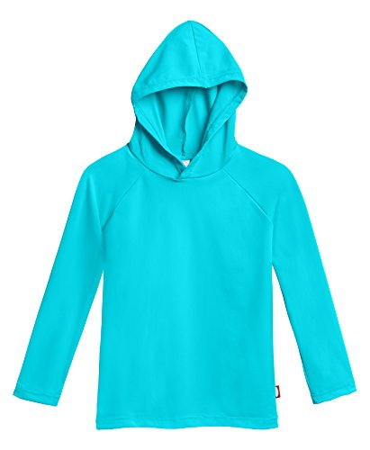 (City Threads Little Boys' and Girls' Hooded Long Sleeve Rashguard for Sun Protection Beach Pool Swimming Tee, Turquoise, 2T)