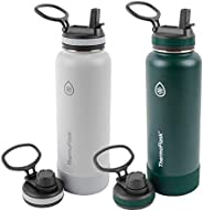 ThermoFlask 40oz Spout Straw Combo Bottle 2pack, Ice Gray/Pine