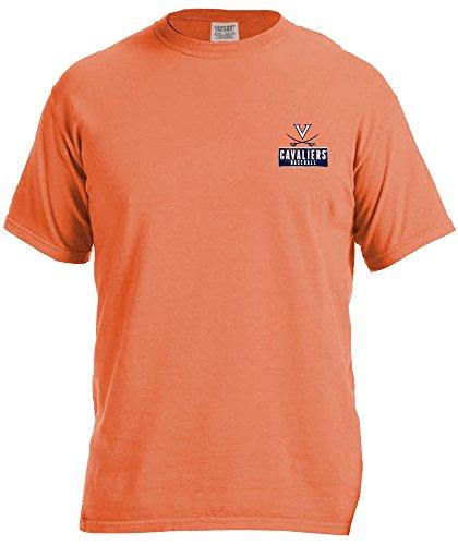 NCAA Virginia Cavaliers Vintage Baseball Flag Short Sleeve Comfort Color T-Shirt, Small,BurntOrange