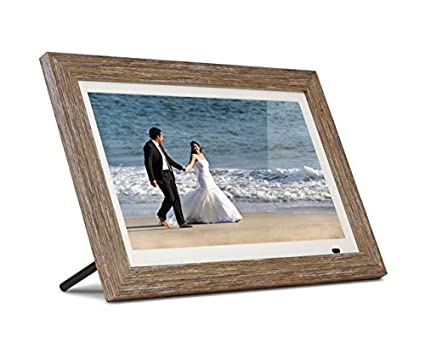 "Aluratek 13"" Distressed Wood Digital Photo Frame, 8GB Built-in Memory, Includes 2 Interchangeable Frames,1920 x 1080 res (ADMPFD13F)"