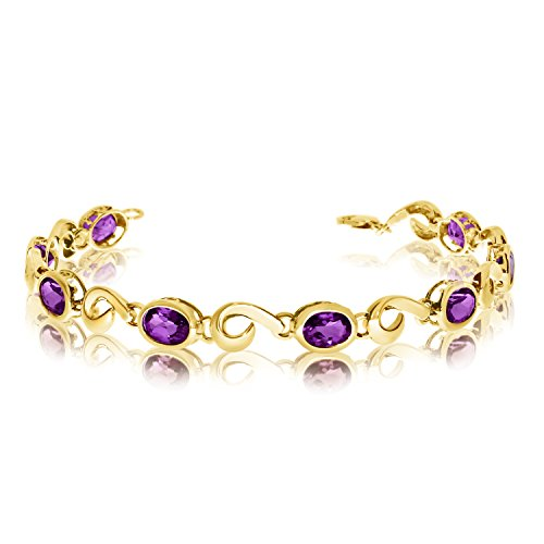 "3.60 Carat (ctw) 14k Yellow Gold Oval Amethyst Hook Link Tennis Bracelet - 7"" Length"