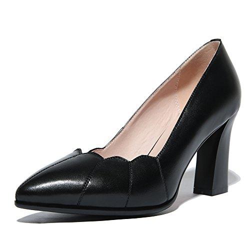 Nine Seven Cuero Moda Puntiagudos Tacones de Vestir de Tacón Grueso para Mujer negro