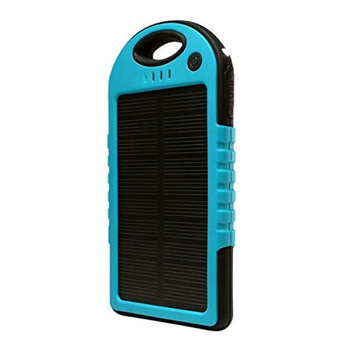 Solar Charger, Powercam, 5000 mAh, Waterproof, Drop Resistant, Shockproof, for iPhones, iPads, Android, Samsung phones, GPS devices and Cameras (Blue) by PowerCam