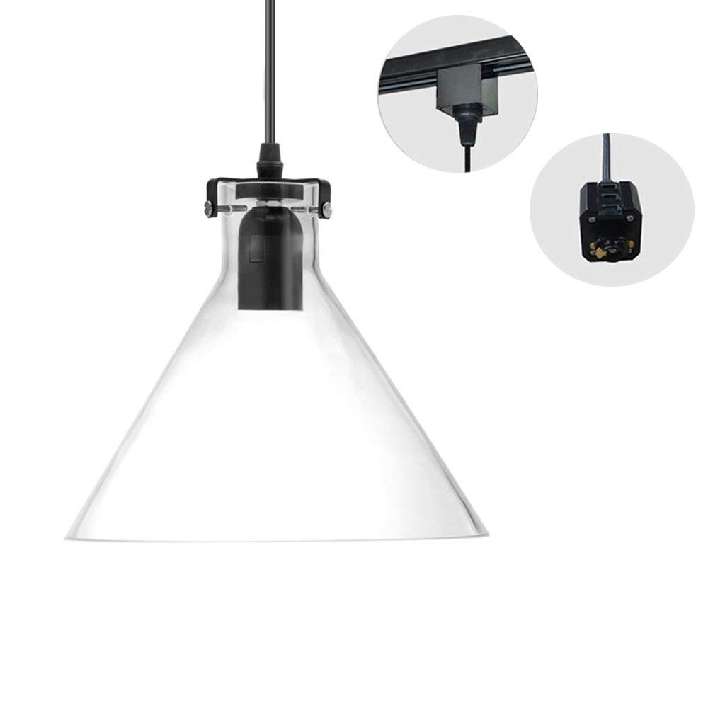 H-Type 3 Wire Glass Track Light Pendants Length1.5m Restaurant Chandelier Decorative Chandelier Instant Pendant Light Bulb not Include Industrial Factory Pendant Lamp (TB0265-B)