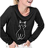 Women Cat T-Shirt Tops,Summer Casual Loose Long Sleeve V-Neck Pullover Tunics Blouses,Best Gift for Valentine's Day Wine