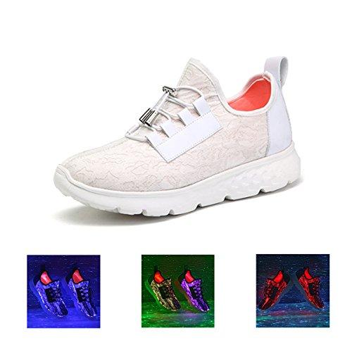Gracosy LED Shoes, LED Zapatillas Luminosas 7 Colores Sneaker Mujer Deportes Al Aire Libre Athletic USB Entrenadores de Carga Para LED Zapatilla de Deporte del Regalo de La Fiesta blanco