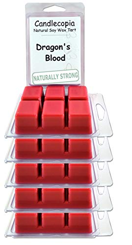 Candlecopia Dragon's Blood Strongly Scented Hand Poured Vegan Wax Melts, 36 Scented Wax Cubes, 19.2 Ounces in 6 x 6-Packs by Candlecopia