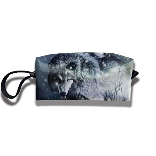 Travel Toiletry Pouch Wolf Shaving Kit Make-up Bag with Handle,Portable Organizer Receive Cosmetic Storage Case for Women and Men