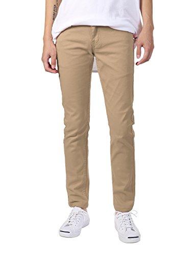 JD Apparel Men's Basic Casual Colored Skinny Fit Twill Pants 32Wx32L Khaki ()