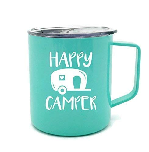 Happy Camper Mint Green Coffee Mug Perfect Addition for at Home in the Trailer or On The Go