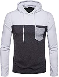 Mens Long Sleeve Stitching Pocket Multicolor Hooded Top Sports Hoodies