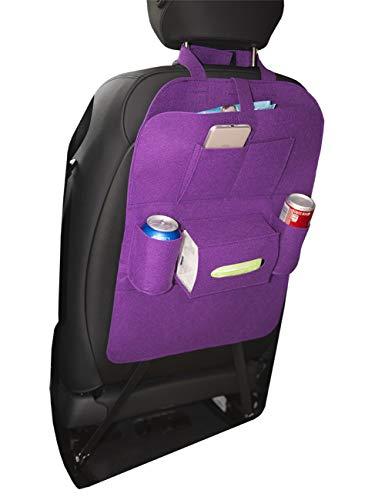 Uheng Car Back Seat Organizer, Backseat Car Organizer, Baby Kids Kick Mats Back Sear Car Protector with Multi Pocket Storage Bag Holder for iPad Tablet Bottle Drink Tissue Box Toys (Purple, 1 Pack)
