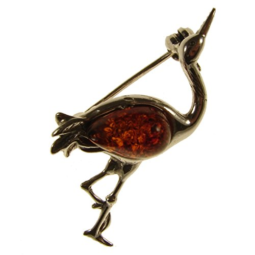 baltic-amber-and-sterling-silver-925-designer-cognac-herron-brooch-pin-jewellery-jewelry