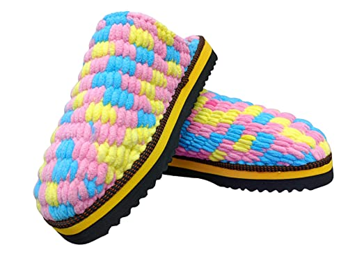 N/AY Women's Wool Slippers Wool Yarn Knitted Comfy House Shoes for Indoor & Outdoor 5-6
