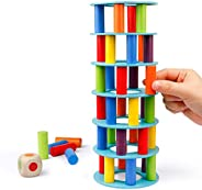 Coogam Wooden Tower Stacking Game, Fine Motor Skill Building Blocks with Dice Toppling Leaning Tower Toy Monte